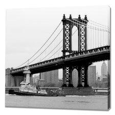Manhattan Bridge with Tugboat Photographic Print on Canvas