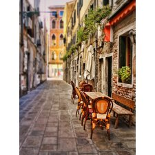 'Sidewalk Café in Venice' by Silvia Cook Photographic Print on Canvas
