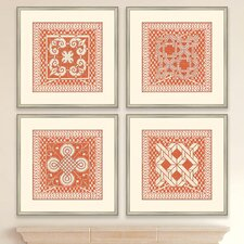 Small Tangerine Tile IV Framed Graphic Art (Set of 4)