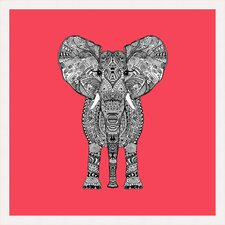 Aztec Elephant on Coral Framed Graphic Art