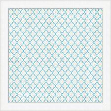 Spa Tile Pattern Framed Graphic Art in Cyan