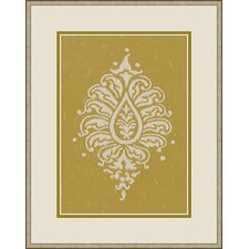 Paisley Framed Graphic Art in Yellow