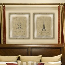 Black Eiffel and Fleur De Lis 2 Piece Framed Graphic Art
