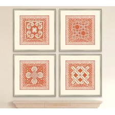 Small Tangerine Tile IV Wall Art Collection (Set of 4)