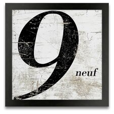 French Number 9 Framed Graphic Art