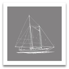 Sail Away Sailboat Blueprint I Framed Graphic Art