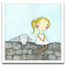 Playroom Bliss Girl with Lamb Framed Art