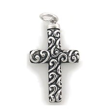 Religious Sterling Silver Swirls Cross Necklace