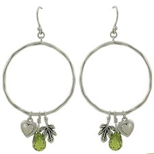 Open Hoop Earrings with Dangling Charms