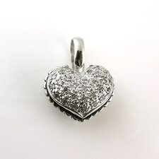 Sterling Silver Studded Double Side Puff Heart Cubic Zirconia Necklace