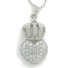 Sterling Silver Pave Crowned Heart Cubic Zirconia Necklace