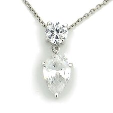 Sterling Silver Round and Pear Cubic Zirconia Necklace