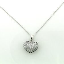 Sterling Silver Double Side Puff Heart Cubic Zirconia Necklace