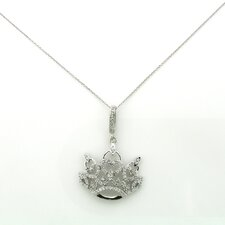 Sterling Silver Crown Cubic Zirconia Necklace
