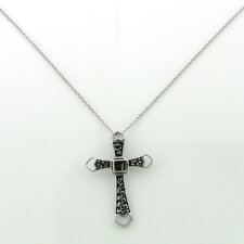 Sterling Silver Heart Tipped Textured Cross Necklace
