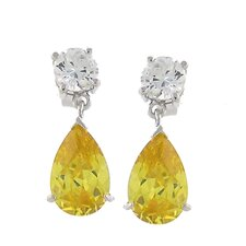 Round and Pear Cubic Zirconia Drop Earrings