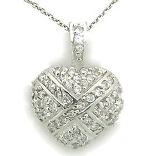 Sterling Silver Heart Cubic Zirconia Pave Necklace