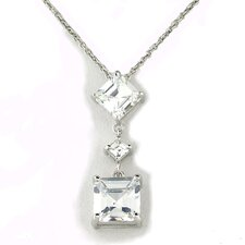 Sterling Silver Triple Square Cubic Zirconia Drop Necklace