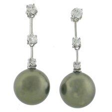 Pearl Drop Cubic Zirconia Drop Earrings