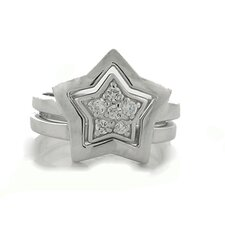 Sterling Silver Double Star Ring
