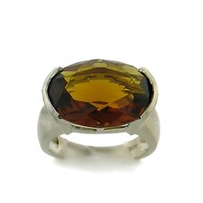 Sterling Silver Oval Cut Gemstone Cocktail Ring