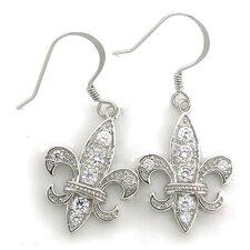 Fleur de Lis Cubic Zirconia Drop Earrings