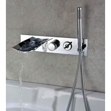 Double Handle Wall Mount Waterfall Tub Faucet with Handshower