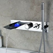 Double Handle Wall Mount LED Waterfall Tub Faucet with Handshower