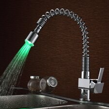 Single Handle Deck Mount LED Kitchen Faucet with Pull-Out Sprayer