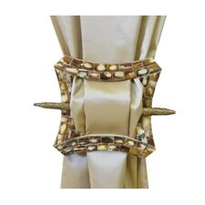 Curved Square Brooch Curtain Tieback in Cream Gold