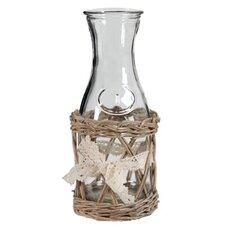 Vintage Style Milk Bottles in Willow Baskets (Set of 4)