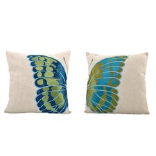 2 Piece Embroidered Butterfly Wing Cushion Set