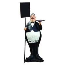Nostalgia Fat Waiter with Sign Statue
