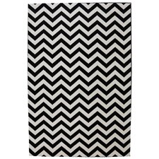 Panoramic Black Striped Herringbone Indoor/Outdoor Rug