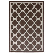 Panoramic Geometric Parsonage  Brown Indoor/Outdoor Area Rug