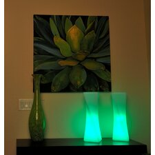 "LuminArt Xanadu LED Rechargeable Designer 21"" H Table Lamp with Rectangular Shade"