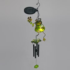 Frog Holding Lily Leaf Wind Chime with Solar Powered LED