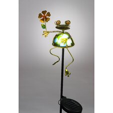 Frog Holding Lily Leaf Garden Stake with Solar Powered LED
