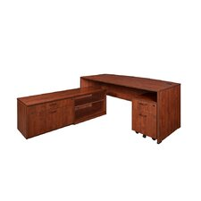 Sandia Bow Front Corner Desk with Low Credenza