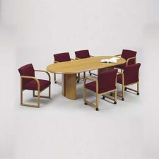 "<strong>Lesro</strong> Contemporary Series 96"" Oval Conference Table with Radius Profile (Split Curved Panel Base)"