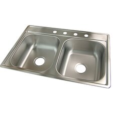 "33"" x 22"" 4 Hole Kitchen Sink"