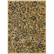 Home Nylon Black Island Flower Rug