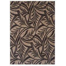Home Nylon Abstracted Dark Brown Leaf Rug