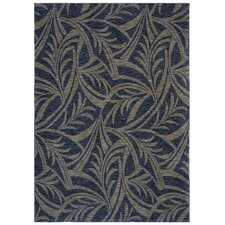 Home Nylon Abstracted Navy Leaf Rug
