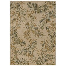 Home Nylon Beige Leaves A Plenty Rug