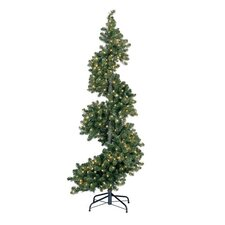 Green Spiral Tree with LED Lights