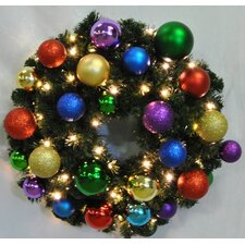 Pre-Lit Blended Pine Wreath Decorated with Royal Ornament