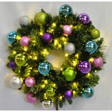 <strong>Queens of Christmas</strong> Pre-Lit Blended Pine Wreath Decorated with Victorian Ornament