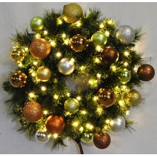 Pre-Lit Blended Pine Wreath Decorated with Woodland Ornament