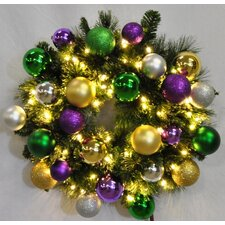Pre-Lit Blended Pine Wreath Decorated with Mardi Gras Ornament